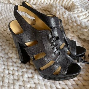 Coach Chunky Black Heels LACE UP
